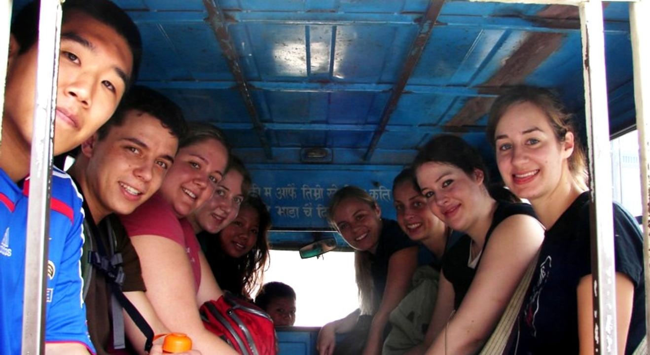 Volunteers in a tuk tuk
