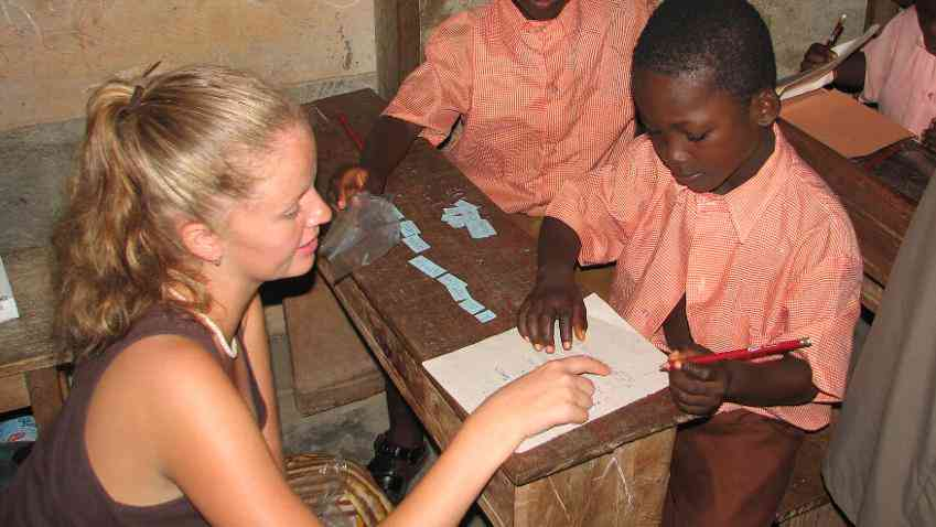A Volunteer Teaching English in Ghana