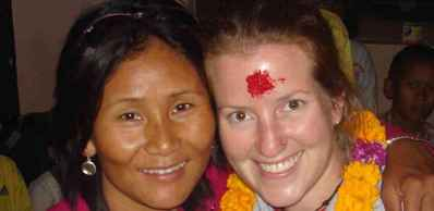 Indira and Childcare Volunteer in Nepal