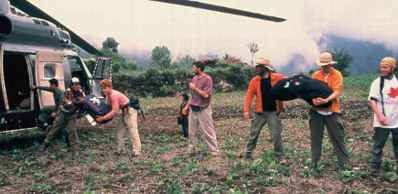 Volunteers Loading a Helicopter