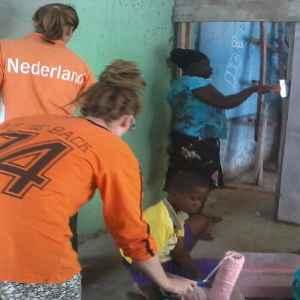 Kids receiving food donation.